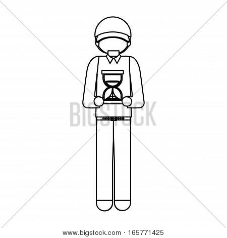 black silhouette with delivery courier and sand clock vector illustration