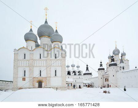 Rostov Veliky / Russia - DECEMBER 22: Uspensky (left) and Voskresensky (right) Cathedrals in Kremlin on December 22 2016 in Rostov Veliky. Rostov Veliky is town in Yaroslavl Oblast Russia.