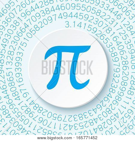 Pi sign with a shadow on a blue background. Mathematical constant irrational complex number greek letter. Abstract digital illustration for March 14th. Poster creative template