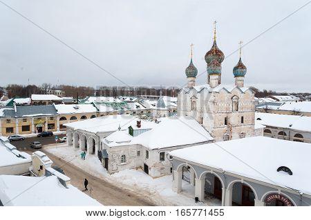 Rostov Veliky / Russia - DECEMBER 22: Spasky (Spas na Torgu) Cathedral in Sovetsky Street on December 22 2016 in Rostov Veliky. Rostov Veliky is oldest in Russia tourist center of Golden Ring.