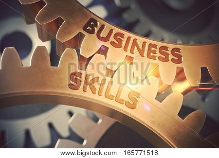 Business Skills on the Mechanism of Golden Metallic Gears. Business Skills on Mechanism of Golden Metallic Cogwheels with Glow Effect. 3D Rendering.