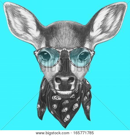 Portrait of Fawn with scarf and glasses. Hand drawn illustration.
