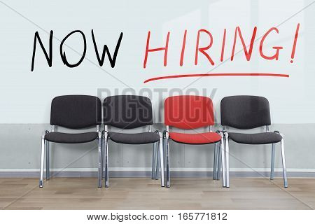 Hiring Concept Of An Employee With An Empty Chair In A Row