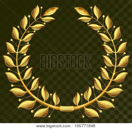 Golden laurel wreath on dark transparent background. Illustration in vector format