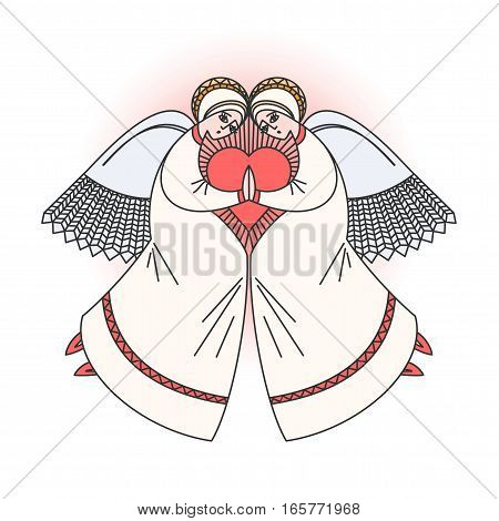 Angel character praying with a candle in hands. Stock vector illustration for valentine's day greeting cards on religious occasions.