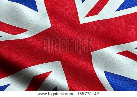 Closeup Of Waving Flag Of Union Jack, Uk Great Britain England Symbol