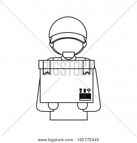halfbody black silhouette with messenger and box vector illustration