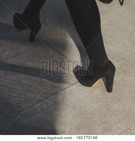 MILAN ITALY - JANUARY 17: Detail of shoes outside Armani fashion show building during Milan Men's Fashion Week on JANUARY 17 2017 in Milan.