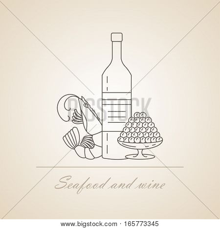 Wine with sea delicacies. Caviar and shrimps. Vector illustration. Seafood Logo.