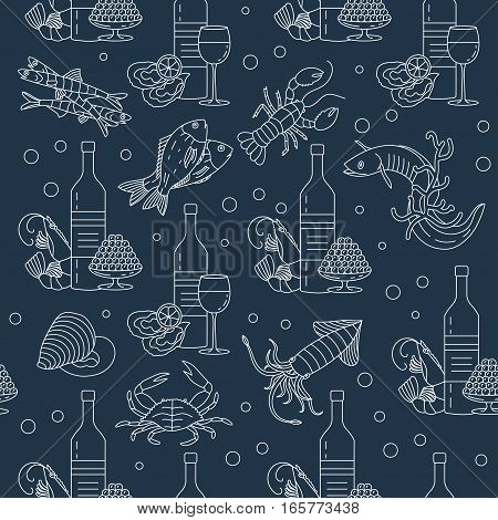 Marine life seamless vector pattern. Symbols of various seafood delicacies and wine.