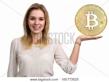 Golden Bitcoin. Virtual Money.