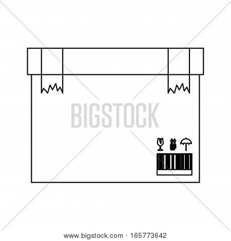 black silhouette box with two broken packing tape vector illustration