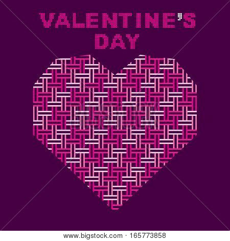 creative happy valentine's day design heart shape using pink parallel line