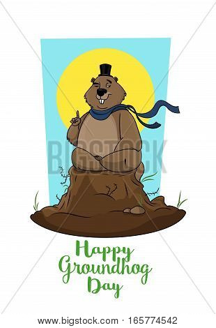 Postcard of Happy Groundhog Day. Marmot trying to predict weather. Forefinger up silk hat is on waving scarf. Congratulations to the end of winter and beginning of spring
