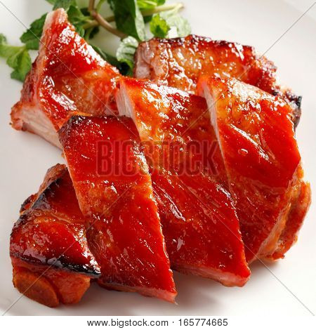Delicious Sweet Barbecue Pork, Char Siu, Chinese Cuisine