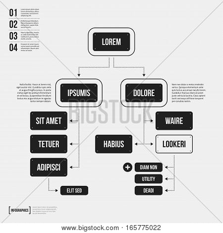 Organization Chart Template With Geometric Elements On White Background. Useful For Science And Busi