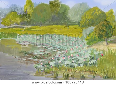 painting gouache on paper - Blossoming lotuses in Volga river delta
