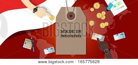 Made in Indonesia price tag illustration badge export patriotic business transaction vector