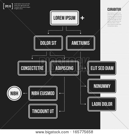 Organization Chart Template With Geometric Elements On Black Background. Useful For Science And Busi