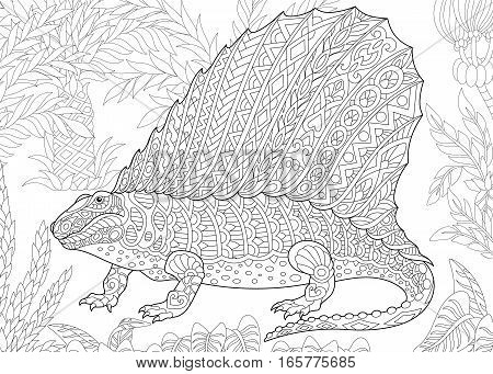 Stylized dimetrodon dinosaur fossil reptile of the Permian period. Freehand sketch for adult anti stress coloring book page with doodle and zentangle elements.