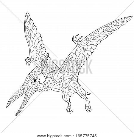 Stylized pterodactyl dinosaur pterosaur of the late Jurassic period isolated on white background. Freehand sketch for adult anti stress coloring book page with doodle and zentangle elements.