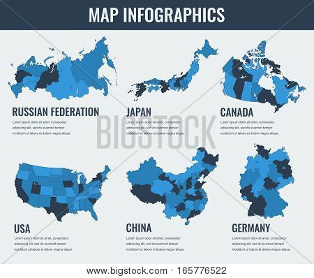 Country maps infographic template. USA, Japan, Canada, China, Russia Germany Selectable territories Vector illustration