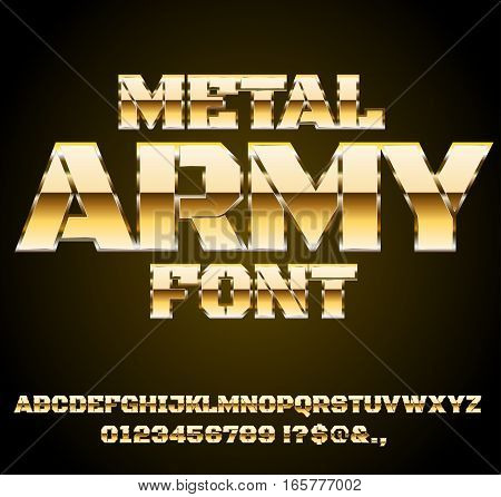 Desert Gold Military Army Sci-Fi Movies Style Chrome Typeface in 80s Retro Futurism style. Vector font