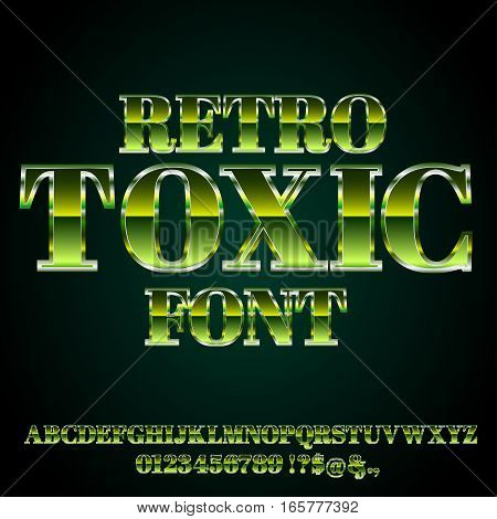 Alphabet vector toxic green colored font with alphabet letters and numbers