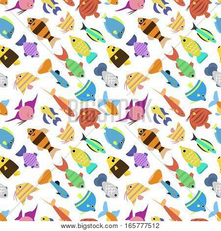 Cute fish vector illustration icons seamless pattern. Flat style marine life animals. Tropical sea nature aquarium design ocean wild underwater swimming exotic angelfish.