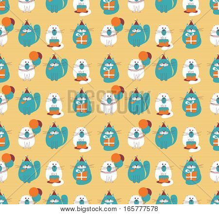 Vector seamless pattern with cute holidays cats. B-day background with pets cakes and balloons.