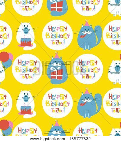 Vector seamless pattern with cute holidays cats and Happy Birthday lettering. B-day background with pets cakes baloons and greetings.