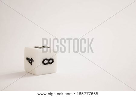 White dice with numbers on a white background
