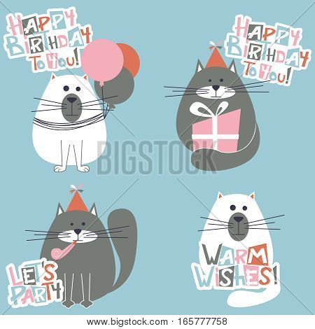Vector holidays cats with Birthday greeting lettering.