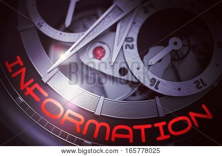 Information on the Face of Elegant Watch Machinery Macro Detail Monochrome. Luxury Wristwatch with Information Inscription on Face. Time and Business Concept with Glowing Light Effect. 3D Rendering.