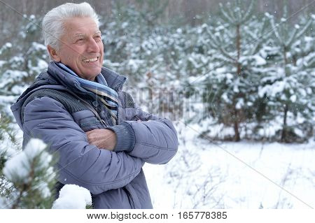 happy mature man posing outdoors in winter