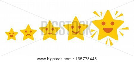 Iconic illustration of satisfaction level. Customer review gives a five star. Positive feedback concept. Minimal flat design. Vector illustration. Isolated on white background