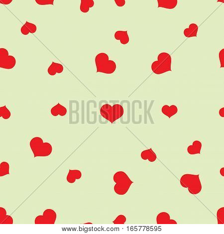 Seamless red hearts pattern on green background vector, eps 10