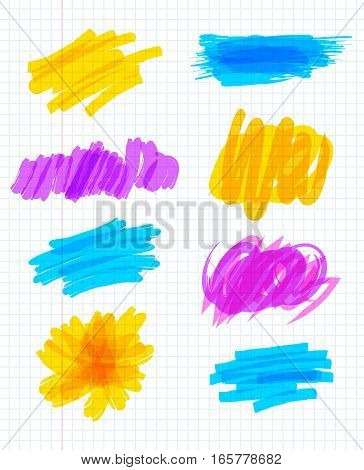 Highlighter marker strokes. Colorful marker scribbles. Abstract paint stripe. Vector illustration. Isolated on white background