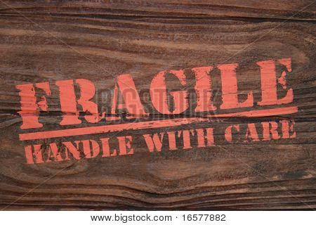Real photo of wooden box stamped with Fragile handle with care