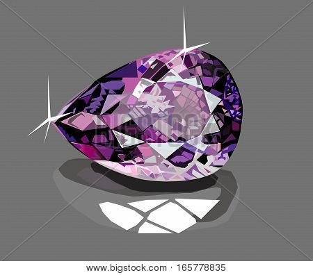 Brilliant diamond isolated on grey glass background
