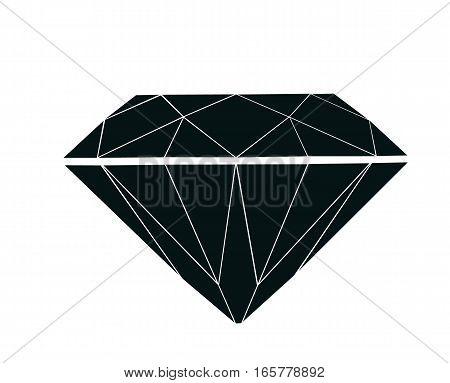 Flat Diamond brilliant isolated on White background.