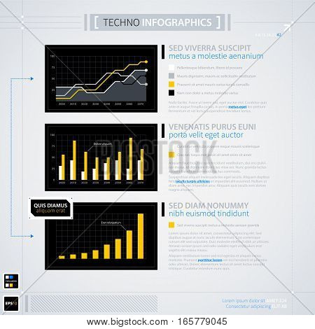 Modern Infographics Template. Futuristic Techno Business Style. Useful For Annual Reports, Presentat