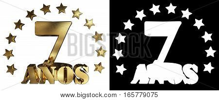 Golden digit seven and the word of the year decorated with stars. Translated from the Spanish. 3D illustration