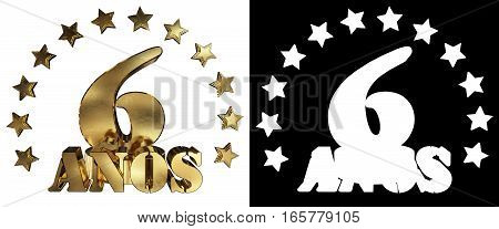 Golden digit six and the word of the year decorated with stars. Translated from the Spanish. 3D illustration