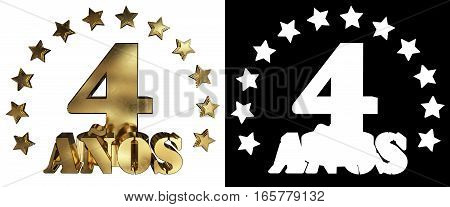 Golden digit four and the word of the year decorated with stars. Translated from the Spanish. 3D illustration