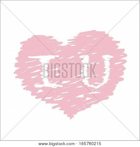 I Love U inscription heart symbol. Happy Valentine's day, wedding, love greeting card. Hand drawn vector illustration.