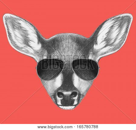 Portrait of Fawn with sunglasses. Hand drawn illustration.