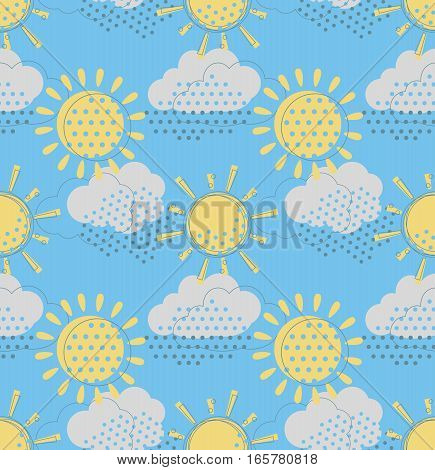 Vector seamless pattern with cute sun and rain clouds. Doodle drawing style background with weather symbols.