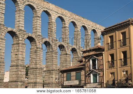 SEGOVIA, SPAIN - JULY 27, 2016: Segovia (Castilla y Leon Spain): the Roman aqueduct Unesco World Heritage Site