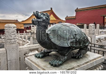China Beijing. Gu Gong Imperial Palace (Forbidden City). The bronze figure of a mythical turtle.